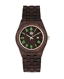 Baobab Wood Bracelet Watch W/Date Brown 46Mm