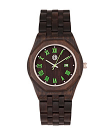 Earth Wood Baobab Wood Bracelet Watch W/Date Brown 46Mm