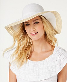 INC Mixed Braid Colorblocked Floppy Hat, Created for Macy's