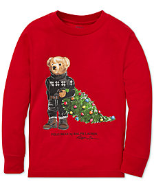 Polo Ralph Lauren Toddler Boys Holiday Bear Long-Sleeve Cotton T-Shirt