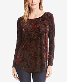 Karen Kane Printed Velvet Burnout Top