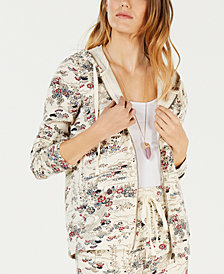 Lucky Brand Printed Zip-Up Hoodie