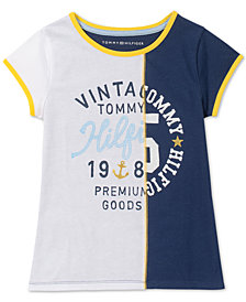 Tommy Hilfiger Big Girls Pieced Graphic-Print Cotton T-Shirt