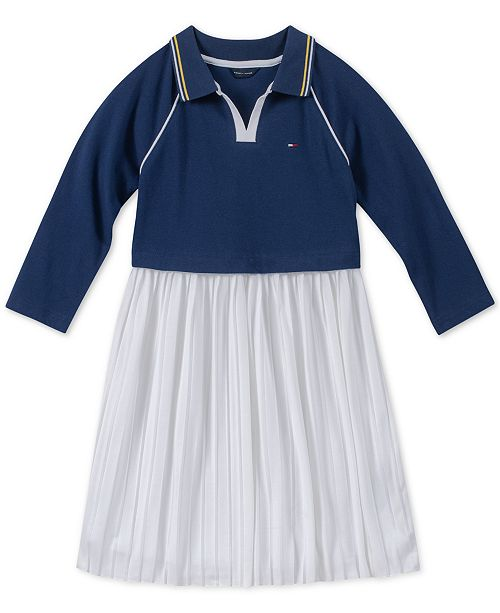Tommy Hilfiger Big Girls Layered-Look Polo Pleated Dress