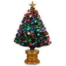 "National Tree 36"" Fiber Optic Fireworks Tree with Ball Ornaments"