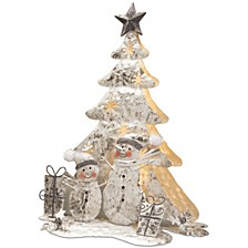 "National Tree 16"" Lighted Tree Snowman Scene"