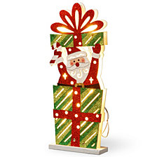 "National Tree PreLit 17"" Wooden Gift Box Santa"
