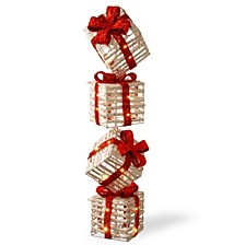 "National Tree PreLit 33"" Sisal Gift Box Tower"