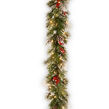 9' Feel Real® Wintry Berry Collection Garlands with Big Pine Cones, Red Berries & Snowy Bristle with 70 Clear Lights