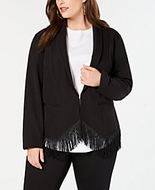 I.N.C. Plus Size Fringe-Trim Blazer, Created for Macy's
