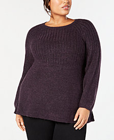 Style & Co Plus Size Bishop-Sleeve Tunic Sweater, Created for Macy's
