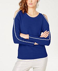 I.N.C. Petite Rhinestone Cold-Shoulder Top, Created for Macy's