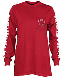 Pressbox Women's Louisville Cardinals Long Sleeve Pocket T-Shirt