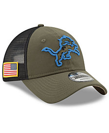 New Era Detroit Lions Camo Service Patch 9TWENTY Trucker Cap