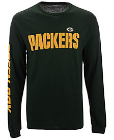 Authentic NFL Apparel Men's Green Bay Packers Streak Route Long Sleeve T-Shirt