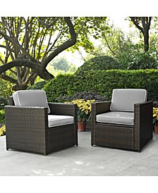 Palm Harbor 2 Piece Outdoor Wicker Seating Set With Cushions - 2 Outdoor Wicker Chairs