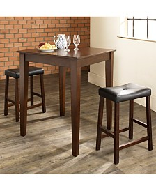 3 Piece Pub Dining Set With Tapered Leg And Upholstered Saddle Stools