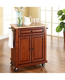 Natural Wood Top Portable Kitchen Cart Island