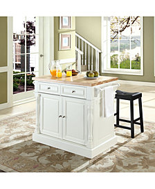 "Oxford Butcher Block Top Kitchen Island With 24"" Upholstered Saddle Stools"