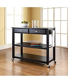 Solid Granite Top Kitchen Cart Island With Optional Stool Storage