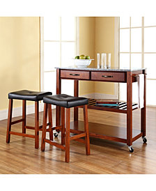 "Solid Granite Top Kitchen Cart Island With 24"" Upholstered Saddle Stools"