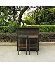 Palm Harbor 3 Piece Outdoor Wicker Bar Set - Bar And 2 Stools