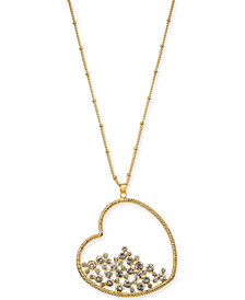 "Thalia Sodi Gold-Tone Pavé Heart Pendant Necklace, 33"" + 3"" extender, Created for Macy's"