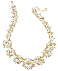 "Charter Club Gold-Tone Crystal and Imitation Pearl Frontal Necklace, 17"" + 2"" extender, Created for Macy's"