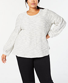 Style & Co Plus Size French Terry Bishop-Sleeve Top, Created for Macy's