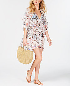 DKNY Floral Chiffon Caftan Cover-Up, Created For Macy's