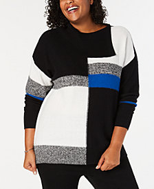 Style & Co Plus Size Colorblock Envelope-Neck Sweater, Created for Macy's