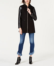 I.N.C. Faux-Leather-Sleeve Jacket, Created for Macy's