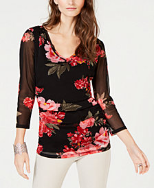 I.N.C. Double-Layered Floral Top, Created for Macy's