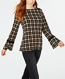 Charter Club Plaid Bell-Sleeve Top, Created for Macy's