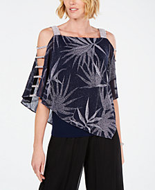 MSK Metallic Rhinestone Palm-Print Top