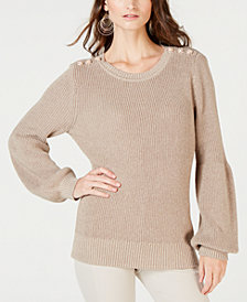 I.N.C. Button-Shoulder Puff-Sleeve Sweater, Created for Macy's
