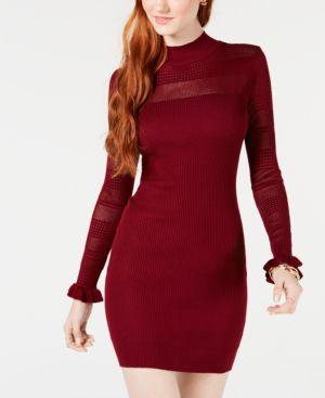 ALMOST FAMOUS Juniors' Bodycon Sweater Dress in Merlot
