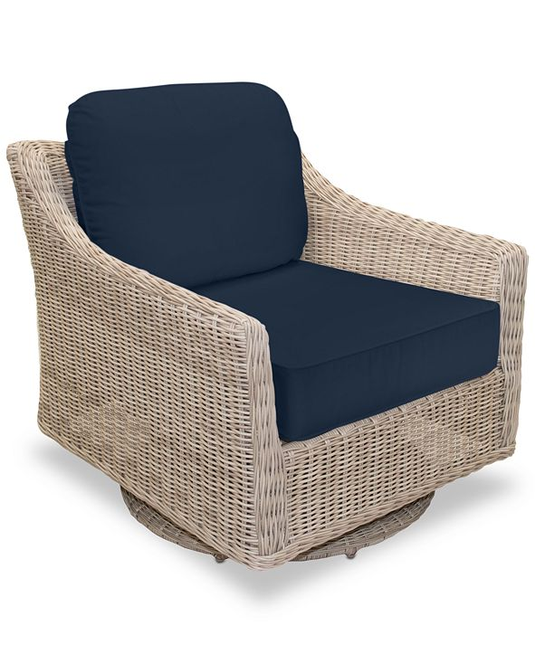 Furniture Willough Wicker Swivel Glider: With Custom Sunbrella® Colors, Created for Macy's