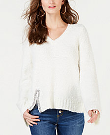 I.N.C. Petite Embellished V-Neck Sweater, Created for Macy's