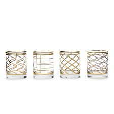 Vietri Elegante Assorted Double Old Fashioned Glasses, Set of 4