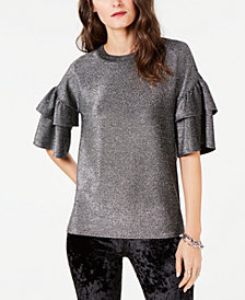 MICHAEL Michael Kors Metallic Ruffle-Sleeve Top, in Regular and Petite Sizes