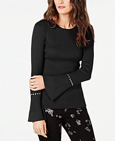 MICHAEL Michael Kors Rhinestone Ribbed Sweater