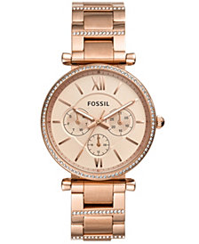 Fossil Women's Carlie Rose Gold-Tone Stainless Steel Bracelet Watch 38mm