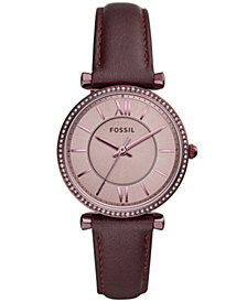 Fossil Women's Carlie Purple Leather Strap Watch 35mm