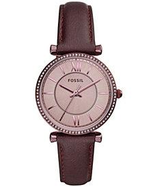 Fossil Women's Carlie Purple Leather Strap Watch 35mm