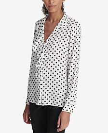 DKNY Dot-Print Ruffle-Front Top, Created for Macy's