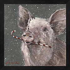 Teri The Christmas Pig By Mary Miller Veazie Framed Art