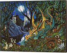 Moon Dragon by Bill Bell Canvas Art
