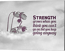 Strength Grows - Flowers in Snow Grayscale by Color Me Happy Canvas Art