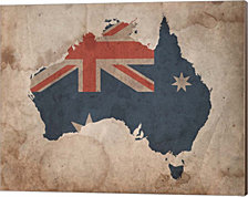 Map with Flag Overlay Australia by Color Me Happy Canvas Art